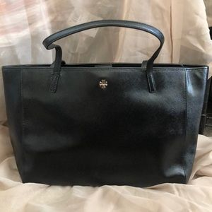 New Tory Burch Caitlin patent tote bag purse blk